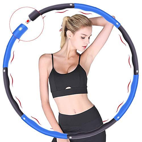 Fitness Reifen, Verwendet für Gewichtsverlust und Massage, Kann in 6-8 Teile Unterteilt Werden, 75-95 cm Durchmesser, Das Gewicht des Reifenschaumgewicht Beträgt ca. 1.2kg (4 Knoten Blau + Grau)
