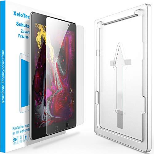 XeloTech Schutzglas Folie mit Schablone für iPad Pro 12.9 Zoll (mit Touch ID - 2017 und 2015) - Schnelle Installation der Schutzfolie durch Positionierungshilfe