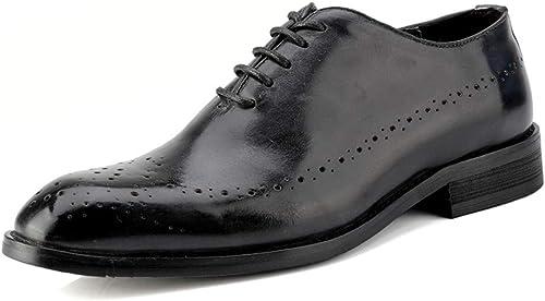 2018 Chaussures pour Hommes d'affaires d'affaires Oxford, Décontracté en Cuir véritable Britannique Style Ceinture de Sculpture Brogue Chaussures Richelieus Homme (Couleur   Noir, Taille   40 EU)  designer en ligne