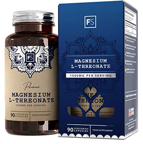 FS Magnesium L Threonate High Strength 1500mg per Serving | Neuro-Chelated 90 Vegan Capsules | Pure Magnesium - Free from Fillers, Binders or Any Other Ingredient | Non GMO and Gluten Free