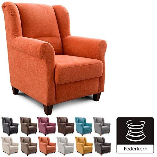 Cavadore Sessel Finja mit Federkern / Ohrensessel im Landhausstil / passender Hocker separat erhältlich / 87 x 102 x 96 / Webstoff Terra (Orange)