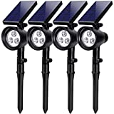 InnoGear Solar Lights, 2-in-1 Waterproof 3 LED Solar Spotlights Adjustable Wall Light Landscape Lighting Security Light Outdoor Auto On/Off for Patio Deck Yard Garden Driveway, Pack of 4