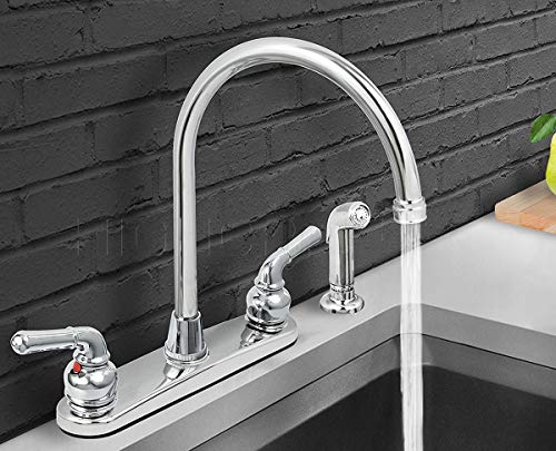 HIGHCRAFT 393II Kitchen Faucet with Spray, High Arc Swivel Spout, Chrome Plated Finish, Lead-Free Construction, Pull Out Side Spray Hose, 2 Easy to Operate Metal Handle 2.2 GPM Flow Rate Easy to Use