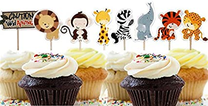 Bilipala 24 Count Zoo Animal Cupcake Toppers Picks, Puffy Picks, Cake & Party Decoration