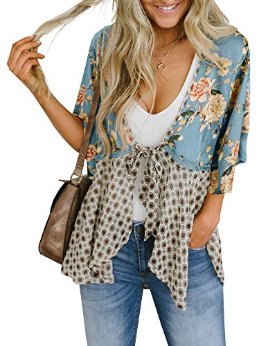 Women Boho Floral Kimono Cardigans 3/4 Sleeve Flowy Belt Tie Loose Cover Up Shirt Blouse Tunic Tops Blue