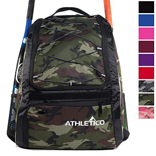 Athletico Baseball Bat Bag - Backpack for Baseball, T-Ball & Softball Equipment & Gear for Youth and Adults | Holds Bat, Helmet, Glove, & Shoes |Shoe Compartment & Fence Hook (Green Camo)
