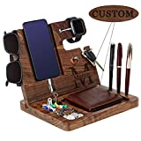 Custom Ebony Wood Phone Docking Station Personalized Gifts for Men Boyfriend Husband Son Dad as Anniversary Birthday Christmas Gifts - Nightstand with Key Holder, Wallet Stand and Watch Organizer