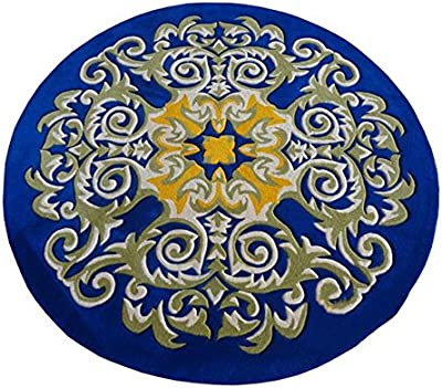 European Style Noble Blue Round Carpet Living Room Bedroom Restaurant Rugs Piano Computer Chair Mats (Color : 140CM)