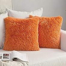 MIULEE Juego de 2 Cojines Pelo Protectores Faux Fur Throw Funda de cojín Deluxe Home Decorativo Cuadrados y Suaves Cojines PeloPara la Hogar Sofá Cama del 45x45cm Naranja