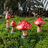 4 StüCk Gartenpilze Aus Harz Fairy Garden Pilz, Wetterfest Rot Fliegenpilz Gartendeko FüR DIY Dollhouse Potting Pilz Figur Deko