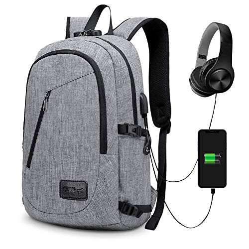 GIM Anti-Theft Backpack, Theft Business Laptop Backpack with USB Charging Port and Earphone Port with Lock Slim Water Resistant Bag Daypack 15.6 Inch Computer Rucksack for Work College (1-Grey)