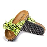 FITCLUSION Slide Sandals Women Cork Sole Casual Slipper Flats with Bow Slipper Footbed Comfortable Gold 6.5 US