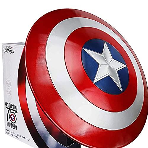 MOMAMOM Avengers Réplica De Marvel Escudo Capitan America 60Cm Edición 75 Aniversario,1:1 Accesorios De Disfraces Retro para Adultos Accesorios Bar Escudo Decoraciones para Colgar Halloween