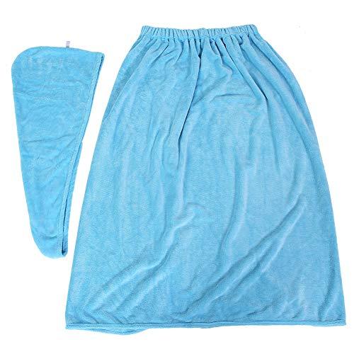 Albornoz, juego de toallas, uniforme de alta elasticidad, cómodo para el hogar, fuerte absorción de agua, rendimiento, salón de belleza(Light blue)