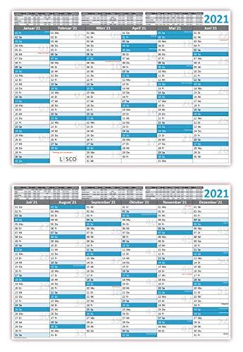 Tafelkalender DIN A3 2021 (2 Stück) Format (297 x 420 mm) 300g BD Papier, sehr gut beschreibbar + Ferientermine aller Bundesländer