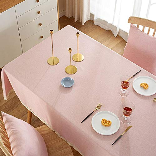 Kuingbhn Anti Fading Rectangular Table Cover Cotton Linen Solid Color Household for Home Decor Kitchen Garden Outdoor Pink 120×120cm
