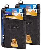 2 Pack Casmonal Slim Minimalist Front Pocket Wallets RFID Blocking Credit Card Holder for Men & Women(Premium Crazy Horse Black)