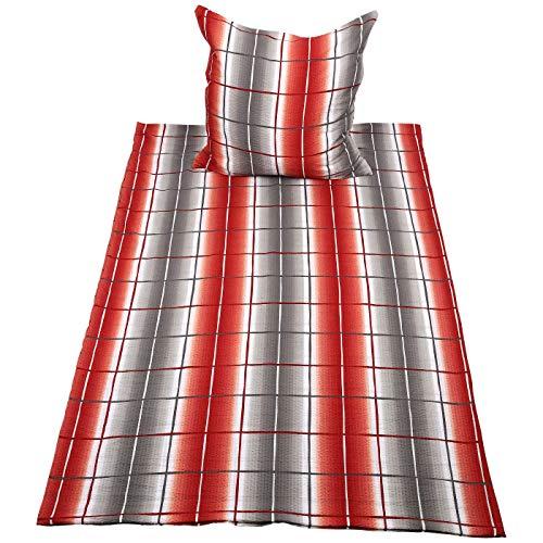 Seersucker Bettwäsche 2tlg. orange-grau 135x200 cm | Bettwäsche | Bett-Bezüge | Seersucker | nach Öko-Tex Standard