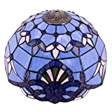 Tiffany Lamp Shade Replacement W12H6 Inch For Table Lamps Ceiling Fixture Pendant Light Blue Purple Stained Glass Baroque Style S003C WERFACTORY Lover Living Room Bedroom Study Office Desk Nightstand