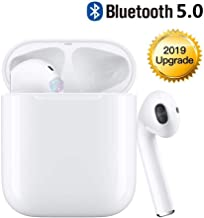 Bluetooth Headset Wireless Earbuds Bluetooth 5.0 Stereo Noise Cancelling Headphones Built-in Microphone Fast Charge Box Compatible with iPhone/Airpods/Samsung/Android (White)