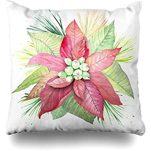 New-WWorld-Shop Grüne Weihnachten Aquarell Blumen Weihnachtsstern Botanische Pflanzen Natur Rosa Zeichnung Blatt Fall 20 x 20 Zoll Kissen Kissen