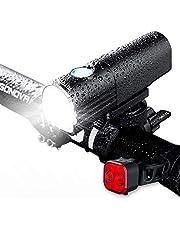 【令和モデル】自転車ライト LEDヘッドライト フロントライト USB充電式 2500mAh 800ルーメン 7つ点灯モード IPX6防水 防振 高輝度 懐中電灯兼用 夜間乗り/通勤用/キャンプ/釣り/アウトドア/防災などに最適 様々な自転車に対応 USB充電式テールライト付き 18ヶ月品質保証&日本語説明書付き PSE認証済み