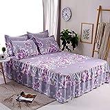 Zhiyuan Microfiber Volant Bettlaken und Kissenbezüge, 180x200x40cm, Lavendel