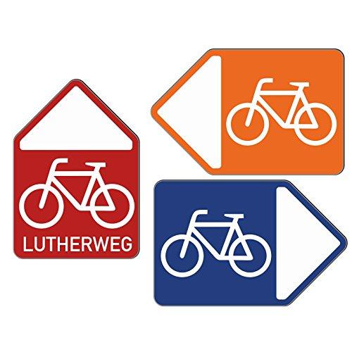 Wegweiser Fahrrad Schild Radweg Alu-Verbund stabil wetterfest rot rechts mit Text