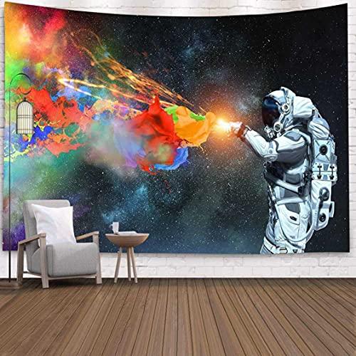 Danjiao Tapiz De Astronauta Psicodélico Galaxy Planet Colgante De Pared Galaxia Decoración Patrón Espacial Alfombra De Pared Tapices Decorativos para El Hogar Rojo Sala De Estar Decor 150x130cm