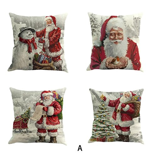 Janly Cushion Cover 4PC Merry Christmas Decorative Pillowcases 18'x18' , Snowman / Elk / Santa Waist Throw Pillow Cover (F)