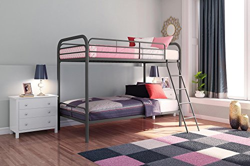 DHP Twin-Over-Twin Bunk Bed with Metal Frame and Ladder,...