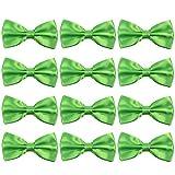 Neck Bowtie Tuxedo for Men Adjustable Solid Satin Pre-tied 12 Pcs Wedding Party (Neon Green)