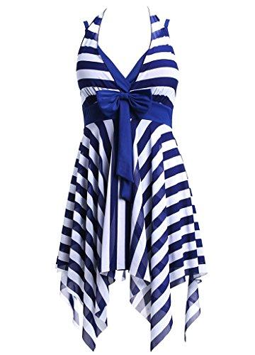 Bademode Damen Tankini Größe Größen Badekleid Beachwear Streifen Blau,4XL
