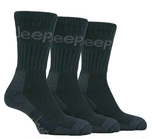 Jeep 3 Paar Herren Luxus Gelände Walking Socken Größe 6-11 UK 39-45 Eur (Grün)