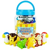 Boley Safari Animals Bath Toys Bucket - 12 Pc Sinking Kids Bathtub Toys for Toddlers Ages 2 and Up