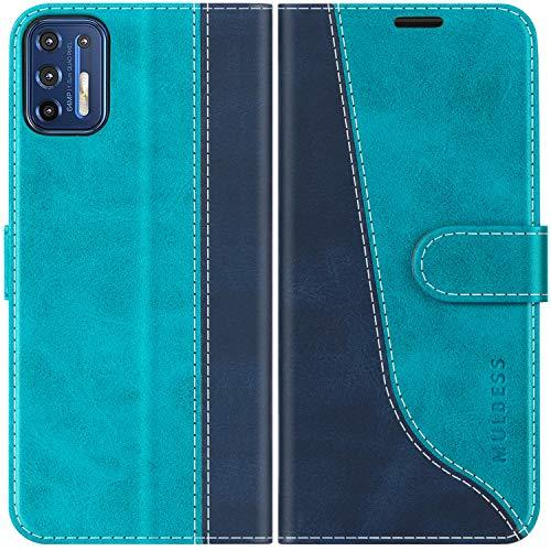 Mulbess Funda para Motorola G9 Plus, Funda con Tapa Motorola Moto G9 Plus, Funda Motorola Moto G9 Plus Libro, Funda Cartera para Motorola Moto G9 Plus Carcasa, Azul Mint