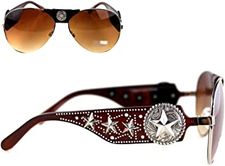 Montana West Concho Collection Aviator Sunglasses Star of Texas Swirl Disc Brown Arms Silver Rims 3709 CF