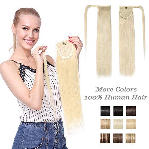 Extension Queue de Cheval Cheveux Naturel - Rajout Vrai Cheveux Humain [Attachée Par Mèche Cheveux] 18 Pouces (45cm) - #60 Blond Platine