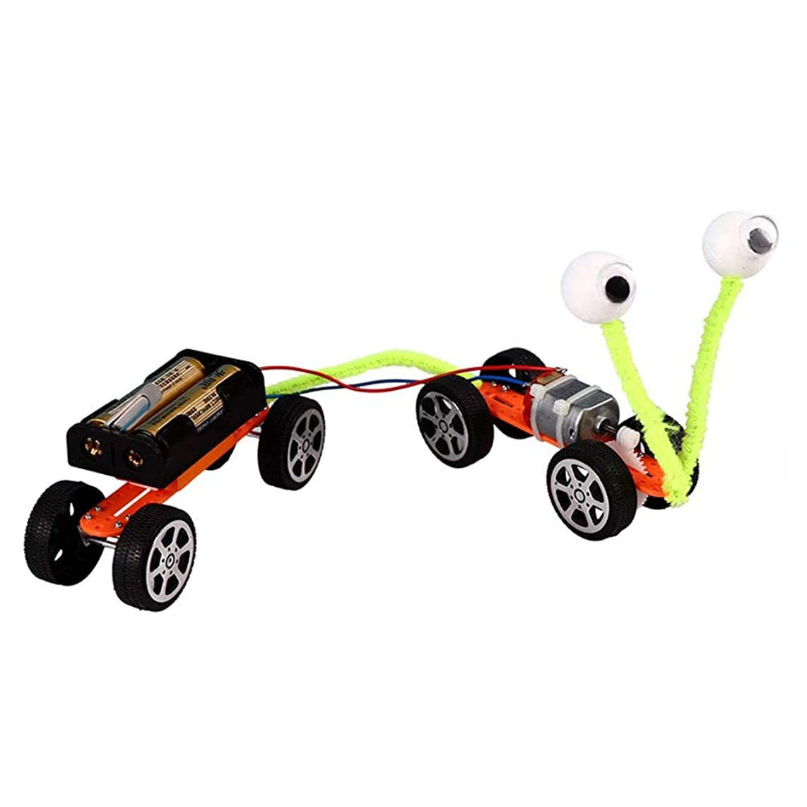 Faironly DIY Mini Motor Electric Car Toy Kits Physics Electrical Circuits Circuit Puzzle Toy Gear[Two Cars]