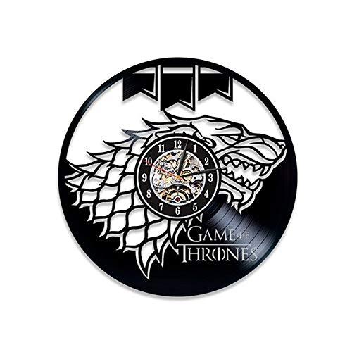 LittleNUM Disco de Vinilo Reloj de Pared Creativo Pared Reloj Silencio Juego de Tronos Regalos Decorativos de Pared de Reloj para los Amigos Que le rodean,Styled