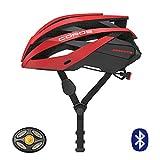 COROS Omni Smart Bicicleta Casco con Auriculares Bone Conductive & luz LED Trasera | verknüpfe Mediante Bluetooth para música, Llamadas y navegación | Cómoda, fácil (Rojo Mate, M)