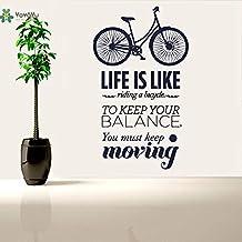zhuzhuwen Pegatinas De Pared De Bob Marley Pequeñas, La Vida Es como Las Palabras De Bicicleta Letrero De Bicicleta Extraíble, Decoraciones De Vacaciones Familiares De Vinilo 91X155 Cm