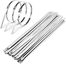 CenterZ 100pcs Stainless Steel Cable Ties, 11.8 inch Exhaust Wrap Metal Locking Zip Tie Bulk, Multi-purpose Reusable Industrial Heavy Duty Cord Management Wire Fastening Straps (11.8