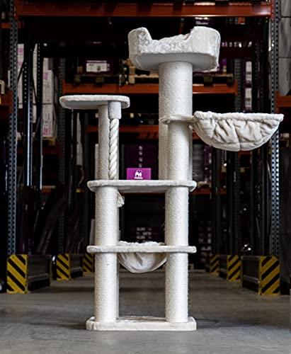 Petrebels Tiragraffi per gatti grandi, panorama 172 cm, beige, tiragraffi per Maine Coon e Ragdoll, con corda per gioco in sisal, amaca XXL e divano XXL
