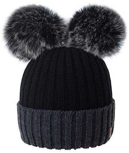 4sold Miki Donne Winter Cappello Invernale Beanie Lavorato a Maglia in Lana con Doppio Pom Pom cap Ski Snowboard Bobble (Black Grey)