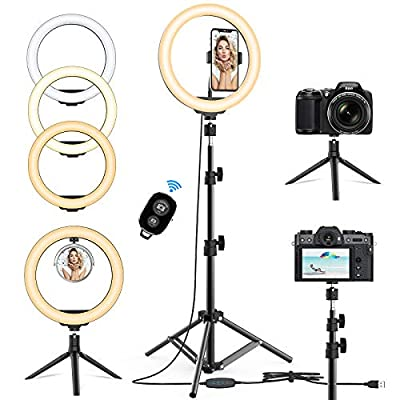 10.2'' Selfie Ring Light with Tripod Stand & Phone Holder - Upgraded Dimmable Camera Ring Light for TikTok/YouTube/Live Stream/Makeup/Photography Compatible with iPhone Android (2 Tripods Included) from Cshidworld