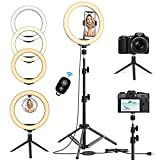 10.2'' Selfie Ring Light with Tripod Stand & Phone Holder - Upgraded Dimmable Camera Ring Light for TikTok/YouTube/Live Stream/Makeup/Photography Compatible with iPhone Android (2 Tripods Included)