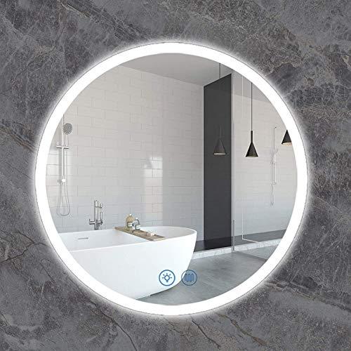 Espejo LED Deluxe - Espejo de tocador de baño, espejo de batalla de pared de led iluminados a prueba de explosiones redondos con sensor Control táctil + vertical y horizontal + borde pulido sin marco