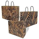 Brown Paper Bags with Handles Animal Prints - Cheetah, Zebra, Leopard – 16x6x12 inches 50 Pcs. Shopping, Trendy, Bulk, Gift, Kraft, Party, Favor, Take-Out, Merchandise, Retail, PCW, Vogue Large