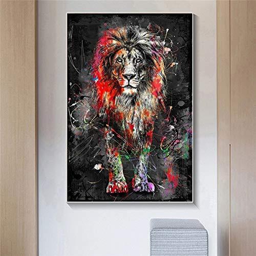 JHGJHK Colorido león Arte de la Pared Pintura al óleo Cartel nórdico león Animal Graffiti Sala de Estar decoración del hogar Pintura